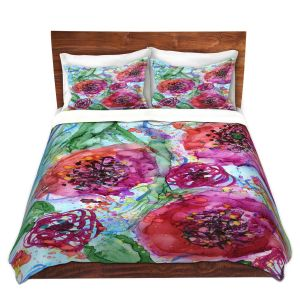 Artistic Duvet Covers and Shams Bedding | Shay Livenspargar - Coral Tango | Nature Abstract Flowers