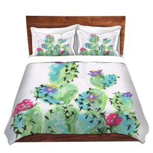 Artistic Duvet Covers and Shams Bedding | Shay Livenspargar - Desert Love | Cactus Blooming