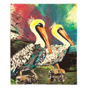 Decorative Fleece Throw Blankets   Shay Livenspargar - Dos Pelicans   Nautical Water Harbor Wild animal