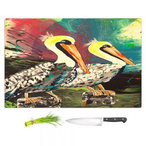 Artistic Kitchen Bar Cutting Boards | Shay Livenspargar - Dos Pelicans | Nautical Water Harbor Wild animal