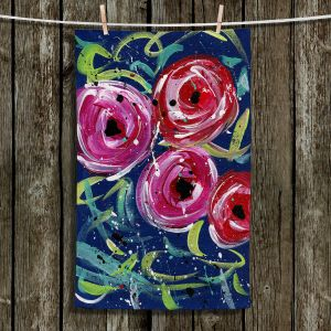 Unique Hanging Tea Towels | Shay Livenspargar - Evening Rose | Florals Flowers Abstract