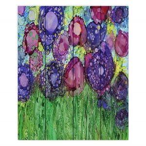 Decorative Wood Plank Wall Art | Shay Livenspargar - Field of Roses | Flowers Nature Landscapes