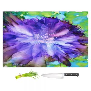 Artistic Kitchen Bar Cutting Boards | Shay Livenspargar - Floral Explosion | Blue Flowers floral
