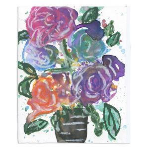 Decorative Fleece Throw Blankets | Shay Livenspargar - Growing Colorful | Floral Flower Pot