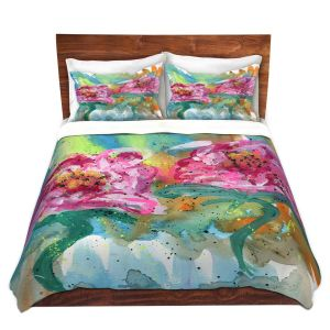 Artistic Duvet Covers and Shams Bedding | Shay Livenspargar - In Sync | Florals Flowers Abstract