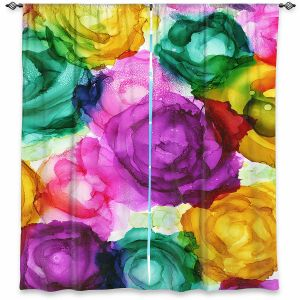 Decorative Window Treatments | Shay Livenspargar - Lost in Flowers | Flowers Floral Abstract Colorful
