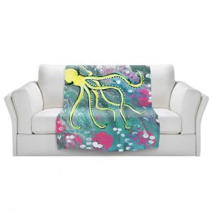 Artistic Sherpa Pile Blankets | Shay Livenspargar - Magical | Octopus Colorful painting