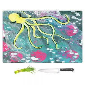 Artistic Kitchen Bar Cutting Boards   Shay Livenspargar - Magical   Octopus Colorful painting