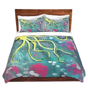 Artistic Duvet Covers and Shams Bedding   Shay Livenspargar - Magical   Octopus Colorful painting
