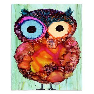 Decorative Fleece Throw Blankets | Shay Livenspargar - Owlie | Wild Animal Owl abstract