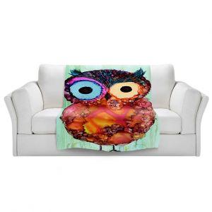 Artistic Sherpa Pile Blankets   Shay Livenspargar - Owlie   Wild Animal Owl abstract