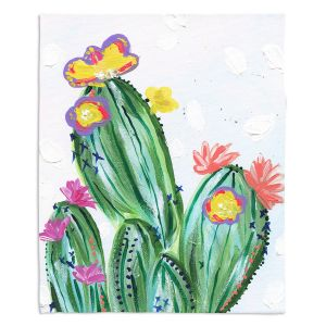 Artistic Sherpa Pile Blankets | Shay Livenspargar - Paiges Cactus | Cactus Blooming
