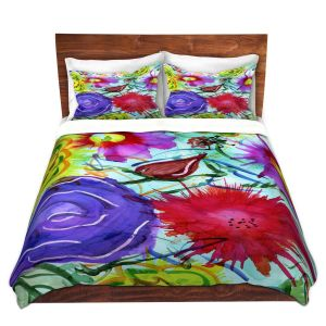 Artistic Duvet Covers and Shams Bedding | Shay Livenspargar - Playful | Florals Flowers Abstract