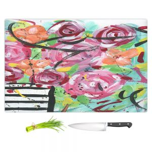 Artistic Kitchen Bar Cutting Boards | Shay Livenspargar - Pop of Floral | Abstract flowers floral