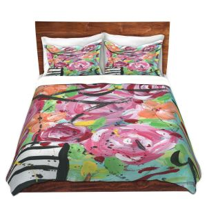 Artistic Duvet Covers and Shams Bedding | Shay Livenspargar - Pop of Floral | Abstract flowers floral