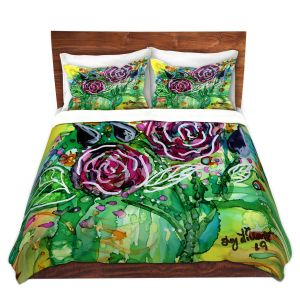 Artistic Duvet Covers and Shams Bedding | Shay Livenspargar - Rose Bouquet | Florals Flowers Abstract