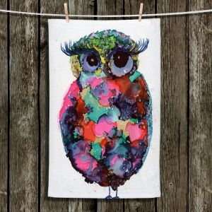 Unique Hanging Tea Towels | Shay Livenspargar - Ruby Owl | Animals Birds Owls Nature
