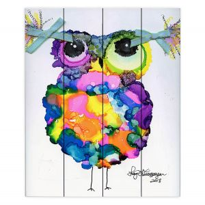 Decorative Wood Plank Wall Art | Shay Livenspargar - Smarty Pants | Wild Animal Owl abstract colorful