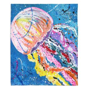 Decorative Fleece Throw Blankets   Shay Livenspargar - Stinger   Jellyfish colorul