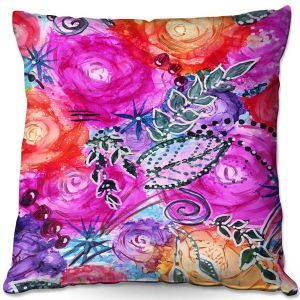 Decorative Outdoor Patio Pillow Cushion | Shay Livenspargar - Swept Away | Flowers Floral Abstract Colorful