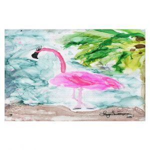 Decorative Floor Covering Mats | Shay Livenspargar - Tropical Flamingo | Wild Animal Bird