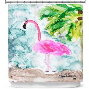 Premium Shower Curtains | Shay Livenspargar - Tropical Flamingo