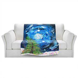 Artistic Sherpa Pile Blankets   Shay Livenspargar - Winter Wonderland   Christmas Tree Moonlight Colorful