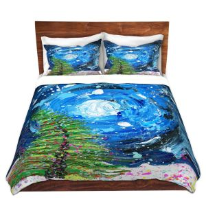 Artistic Duvet Covers and Shams Bedding | Shay Livenspargar - Winter Wonderland | Christmas Tree Moonlight Colorful
