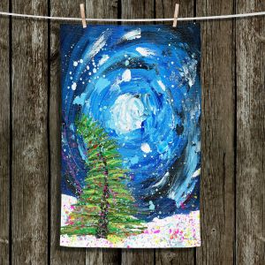 Unique Hanging Tea Towels | Shay Livenspargar - Winter Wonderland | Christmas Tree Moonlight Colorful
