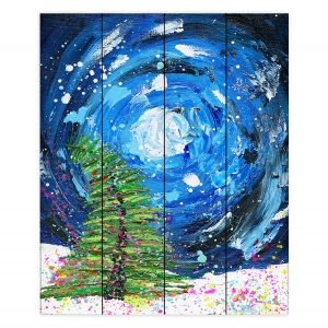 Decorative Wood Plank Wall Art | Shay Livenspargar - Winter Wonderland | Christmas Tree Moonlight Colorful