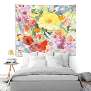 Artistic Wall Tapestry   Sheila Golden - Blue Flowers Bouquet   Flowers Nature