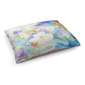 Decorative Dog Pet Beds | Sheila Golden - Blue Oasis | flower watercolor silhouette nature