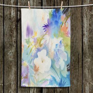 Unique Bathroom Towels   Sheila Golden - Blue Oasis   flower watercolor silhouette nature