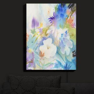 Nightlight Sconce Canvas Light | Sheila Golden - Blue Oasis | flower watercolor silhouette nature