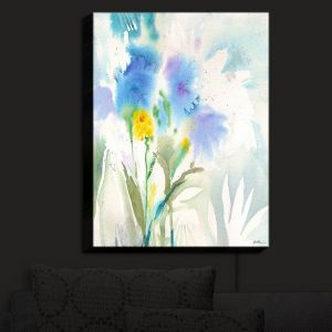 Nightlight Sconce Canvas Light | Sheila Golden - Blue Reflections | flower watercolor silhouette nature
