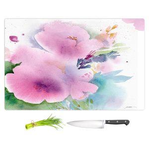 Artistic Kitchen Bar Cutting Boards | Sheila Golden - Blue Flowers Magenta | Flowers Nature