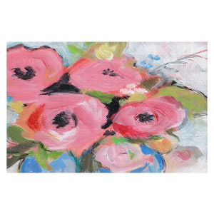 Decorative Floor Covering Mats   Sheila Golden - Bouquet in Pink   flower painterly still life brush strokes