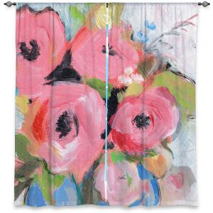 Decorative Window Treatments | Sheila Golden - Bouquet in Pink | flower painterly still life brush strokes