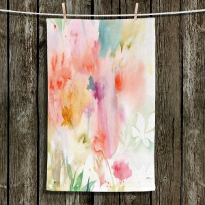 Unique Bathroom Towels | Sheila Golden - Flower Dreams | flower watercolor abstract leaves
