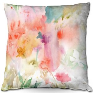Throw Pillows Decorative Artistic | Sheila Golden - Flower Dreams | flower watercolor abstract leaves