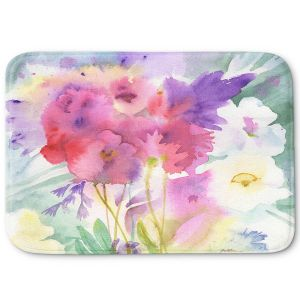 Decorative Bathroom Mats | Sheila Golden - Garden Mist | flower watercolor abstract leaves