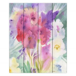 Decorative Wood Plank Wall Art | Sheila Golden - Garden Mist | flower watercolor abstract leaves