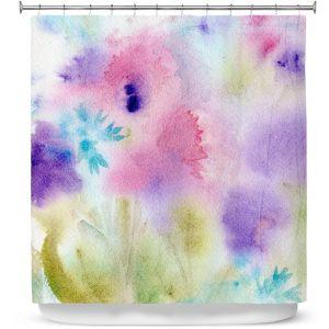 Premium Shower Curtains | Sheila Golden - Mauve Whisp | leaves nature watercolor