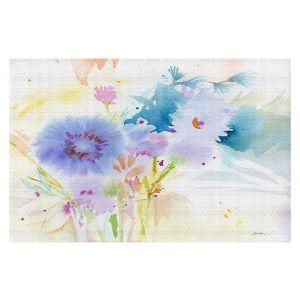 Decorative Floor Covering Mats   Sheila Golden - Mixed Blue Bouquet   flower nature watercolor