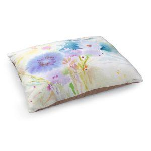 Decorative Dog Pet Beds | Sheila Golden - Mixed Blue Bouquet | flower nature watercolor