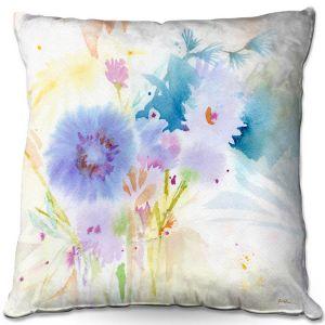 Throw Pillows Decorative Artistic | Sheila Golden - Mixed Blue Bouquet | flower nature watercolor
