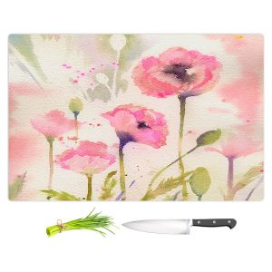 Artistic Kitchen Bar Cutting Boards | Sheila Golden - Oriental Poppy Garden | flower nature watercolor