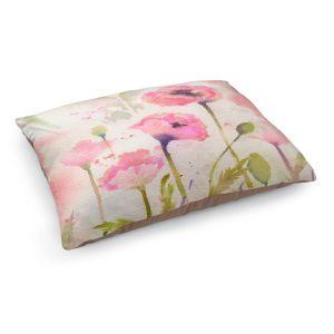 Decorative Dog Pet Beds | Sheila Golden - Oriental Poppy Garden | flower nature watercolor