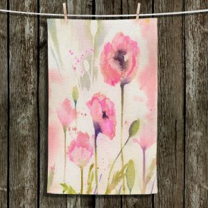 Unique Hanging Tea Towels | Sheila Golden - Oriental Poppy Garden | flower nature watercolor