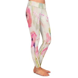 Casual Comfortable Leggings | Sheila Golden - Oriental Poppy Garden | flower nature watercolor